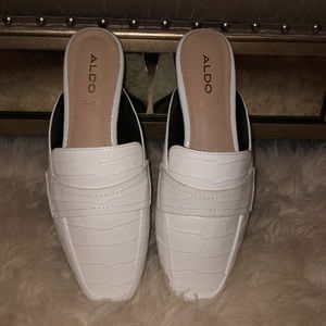 New white snakeskin leather loafers